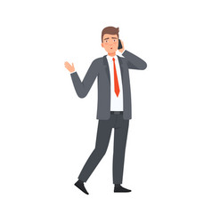 businessman talks on the phone and a little upset vector image