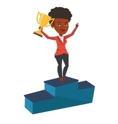 Businesswoman proud his business award vector