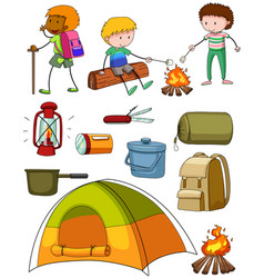 camping set with campers and tent vector image