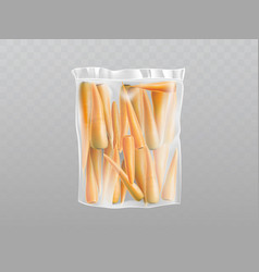 carrots in plastic packing transparent vector image