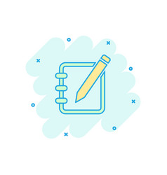 Cartoon notepad edit document with pencil icon in vector