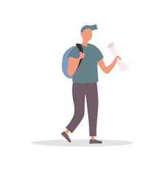 caucasian traveler in blue t-shirt vector image