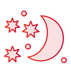 Celestial flat icon moon and stars pink icons in vector