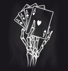 chalkboard poster with black jack bones vector image