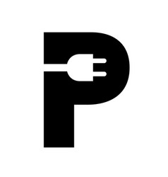 Charging parking creative sign plug in letter p vector