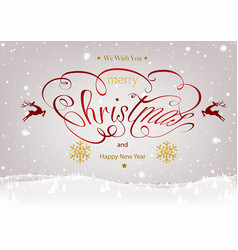 christmas calligraphic inscription with winter vector image