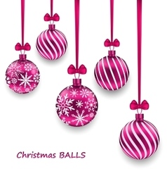 Christmas Card with Pink Glassy Balls with Bow vector