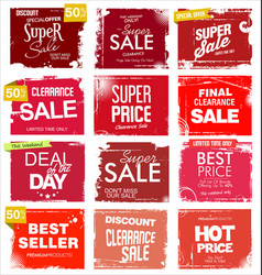 collection red grunge retro sale background vector image
