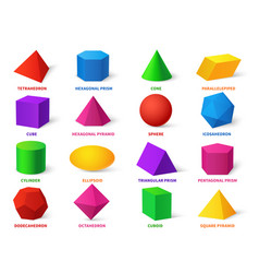 color basic shapes realistic 3d geometric forms vector image