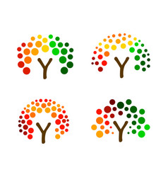 colorful tree from circles logo set vector image