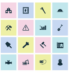 construction icons set with house drawing welding vector image
