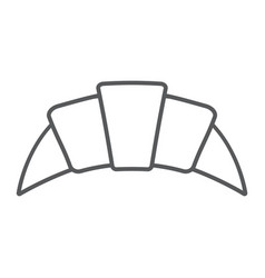 Croissant thin line icon pastry and food bun vector
