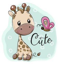 Cute cartoon giraffe and butterflies vector