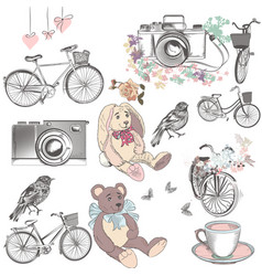 cute collection hand drawn vintage cute objects vector image