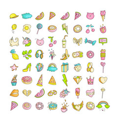 Cute funny girl teenager colored icon set fashion vector