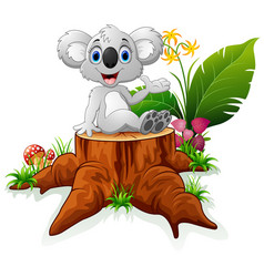 Cute koala sit on tree stump vector