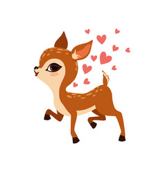 cute little fawn character with hearts vector image