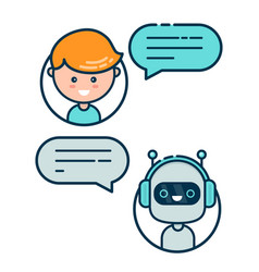 Cute smiling chat bot is written vector
