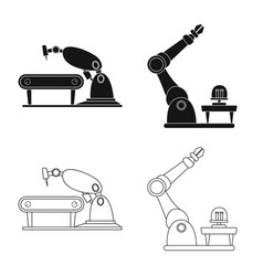 Design of robot and factory symbol vector