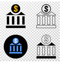 dollar bank eps icon with contour version vector image