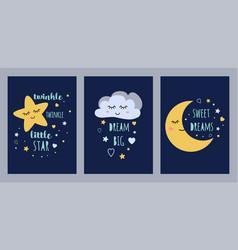 Dream sleep cards set for badesign cute sleepy vector