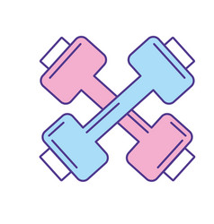 Dumbbells instrument to do exercise in the gym vector