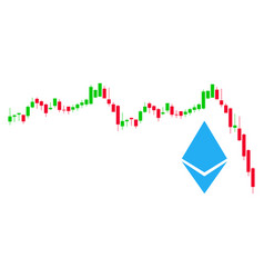 Ethereum falling chart flat icon vector
