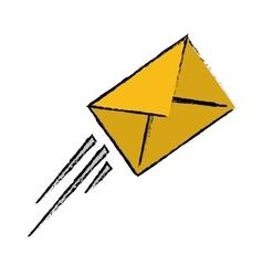 Express mail email envelope flying sketch vector