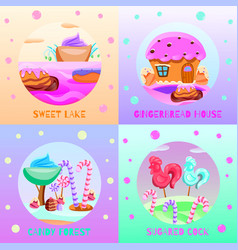 Fairy tale candy land concept vector