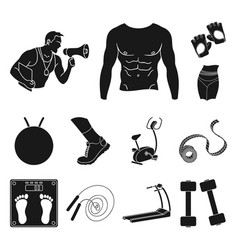 fitness and attributes black icons in set vector image