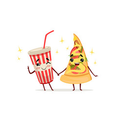 Funny cocktail and slice of pizza characters vector