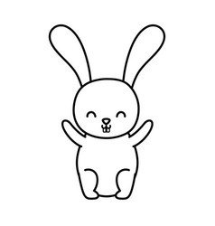 funny cute rabbit little animal cartoon thick line vector image