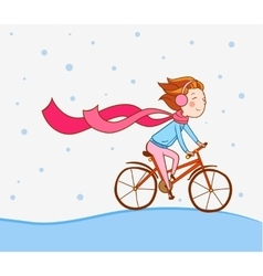 Girl on bike winter background vector