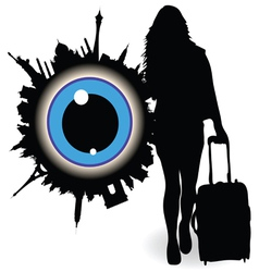 Girl with a suitcase and ble eye vector