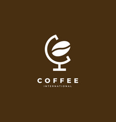 globe coffee logo design vector image
