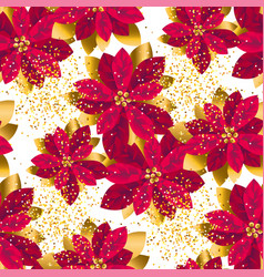 gold poinsettia flowers seamless pattern vector image
