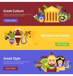 Greece banner set vector image