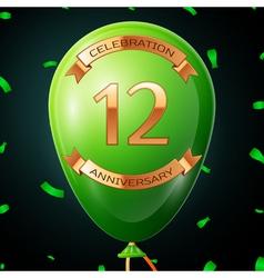 Green balloon with golden inscription twelve years vector