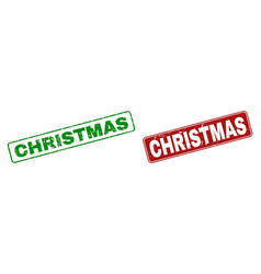 grunge christmas rubber prints with rounded vector image