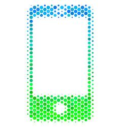 halftone blue-green smartphone icon vector image