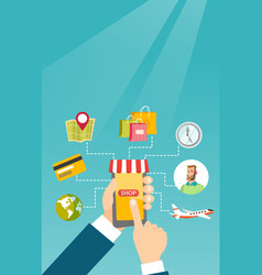Hands holding phone connected with shopping icons vector