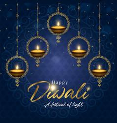 Happy diwali festival card gold indian diya candle vector