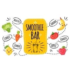 Healthy menu smoothie bar vector