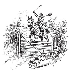 horse jumping over fence vintage vector image