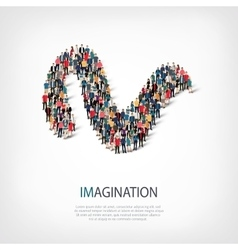 Imagination people sign 3d vector