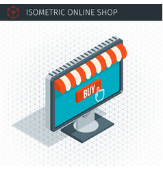 isometric monitor with awning vector image