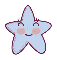 kawaii happy star with close eyes and cheeks vector image