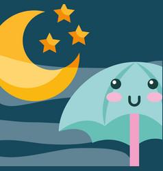 Kawaii umbrella moon and stras cartoon vector