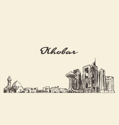 khobar skyline saudi arabia drawn sketch vector image