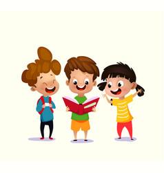 kids reading open book vector image